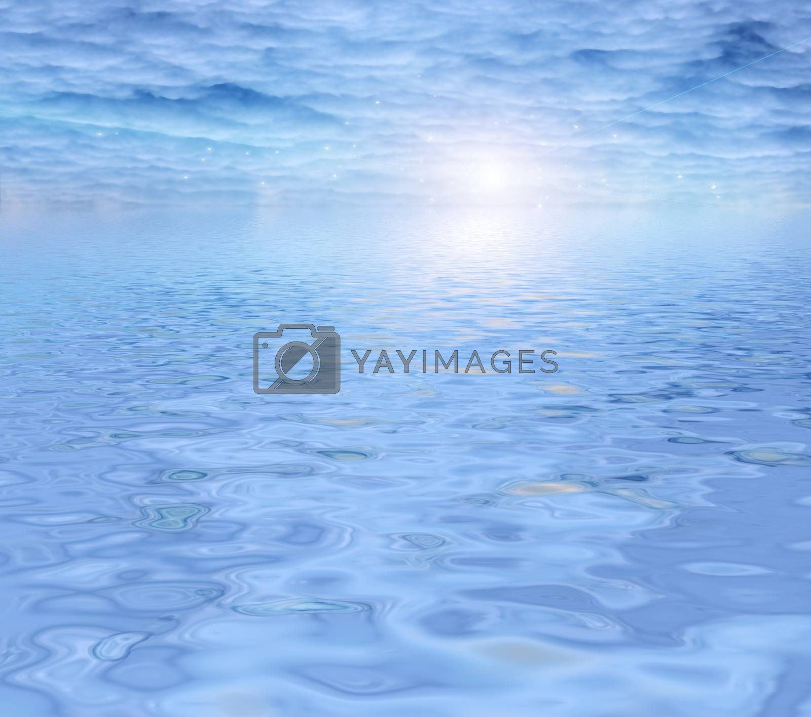 Light water and clouds. 3D rendering