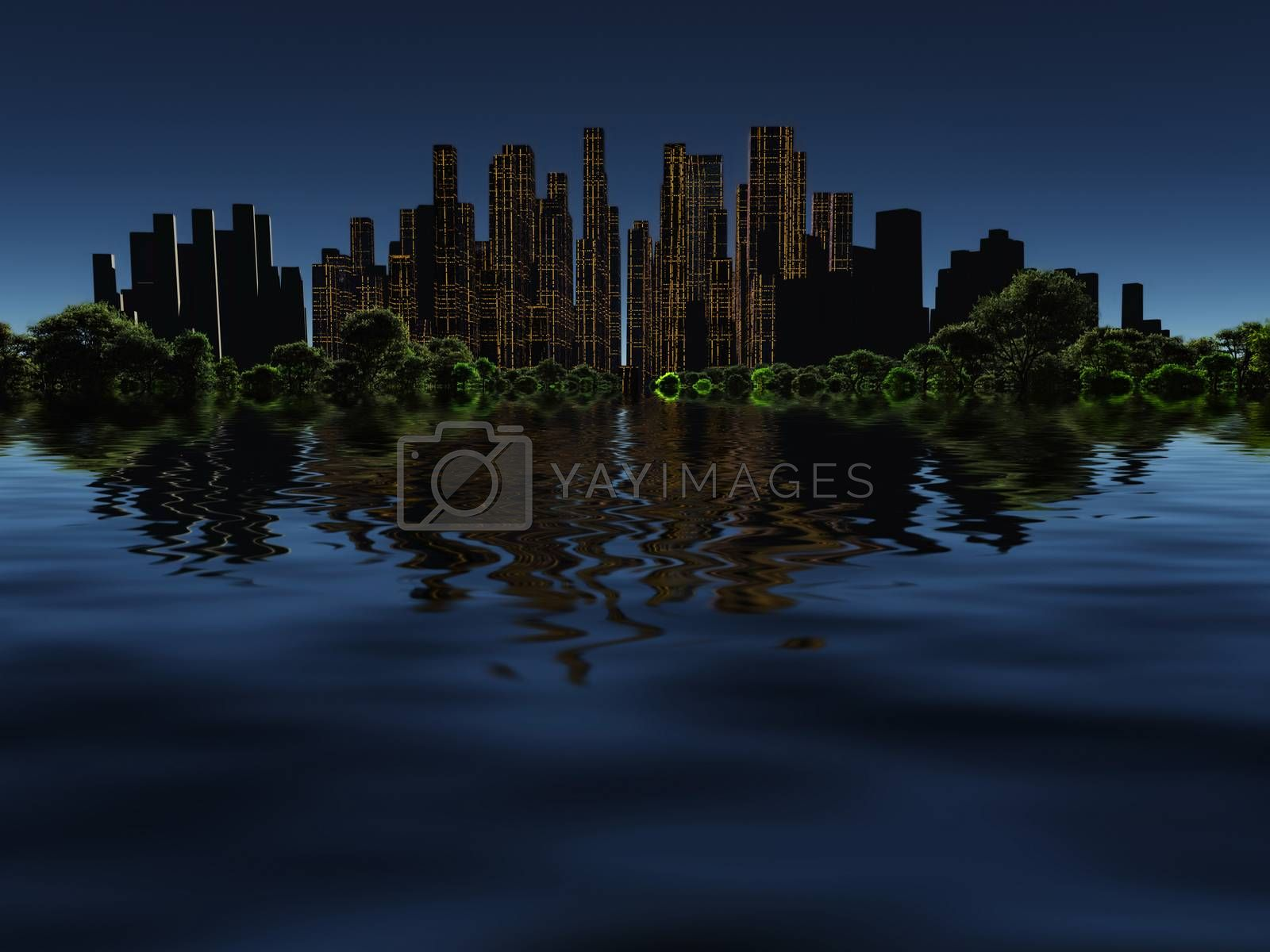 Surrealism. City of future in green forest surrounded by water. 3D rendering