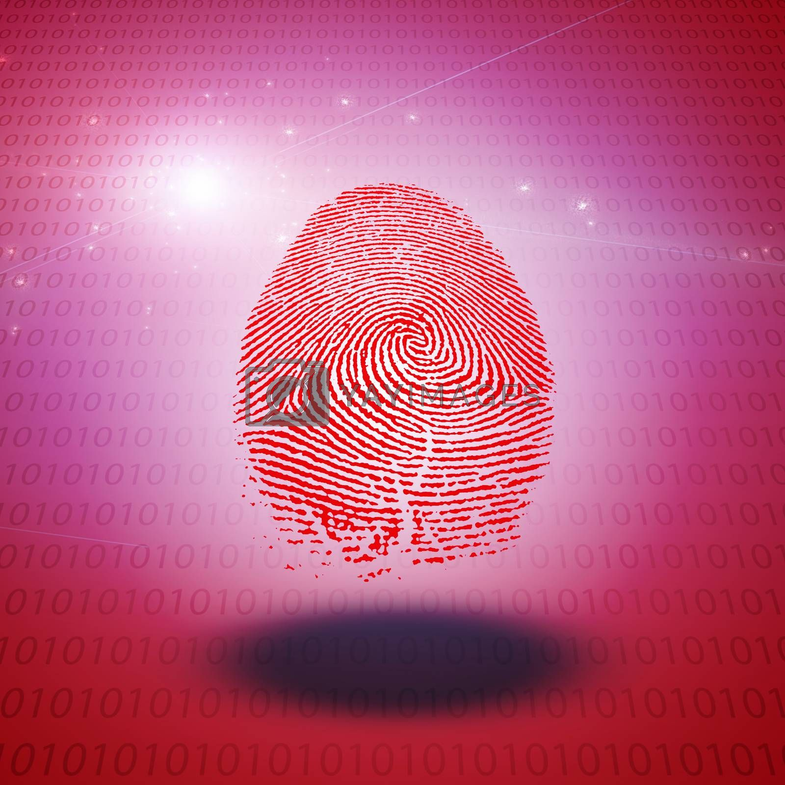Machine Fingerprint on binary code. 3D rendering