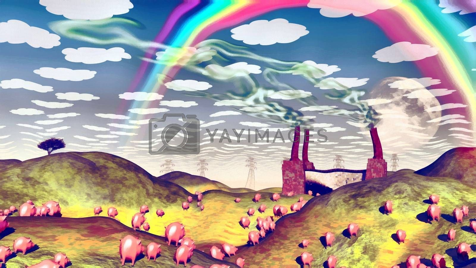 Surreal painting. Pigs in the field. Factory at the horizon. Rainbow in the sky. 3D rendering