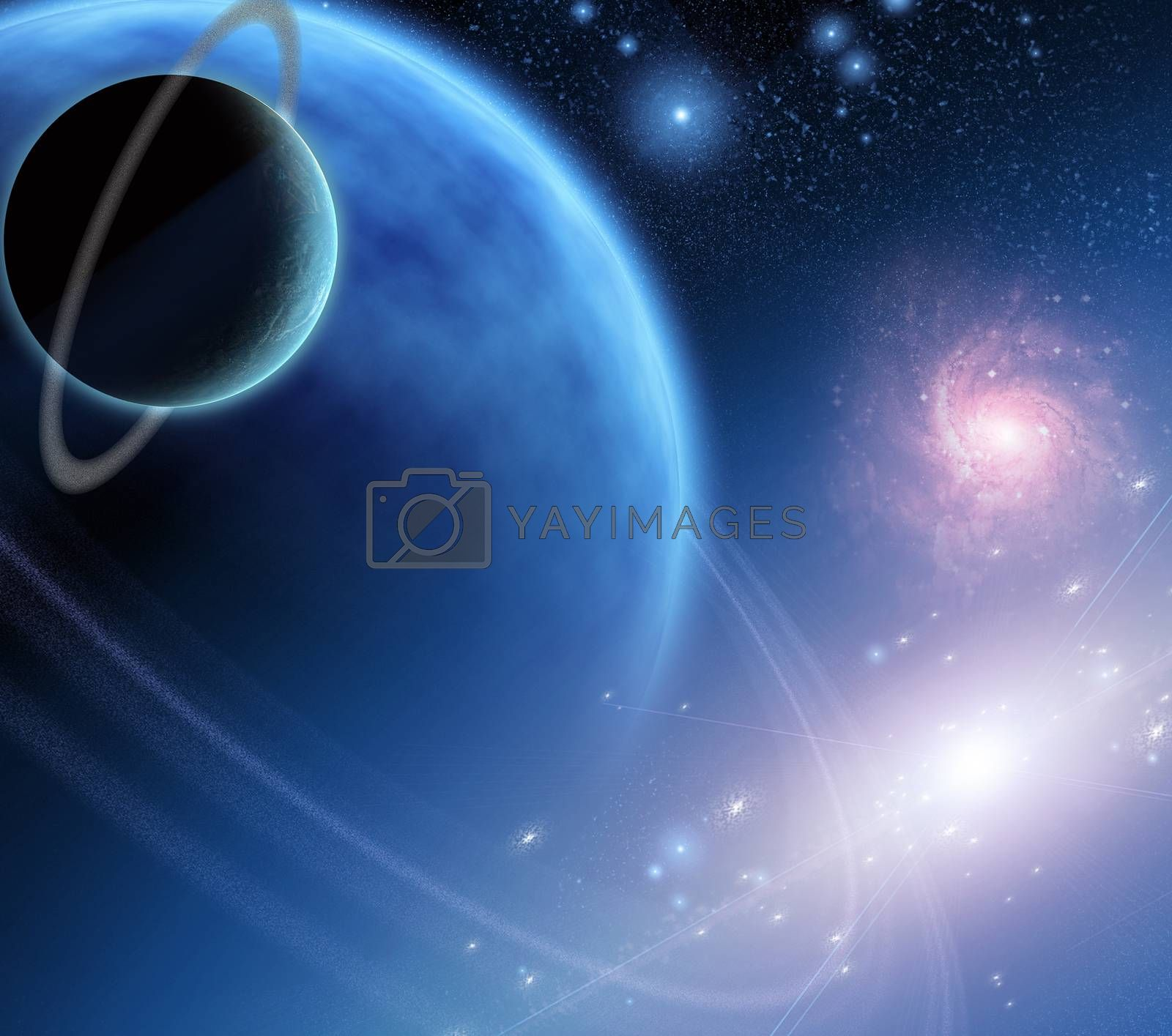 Ringed Planets in Space. 3D rendering