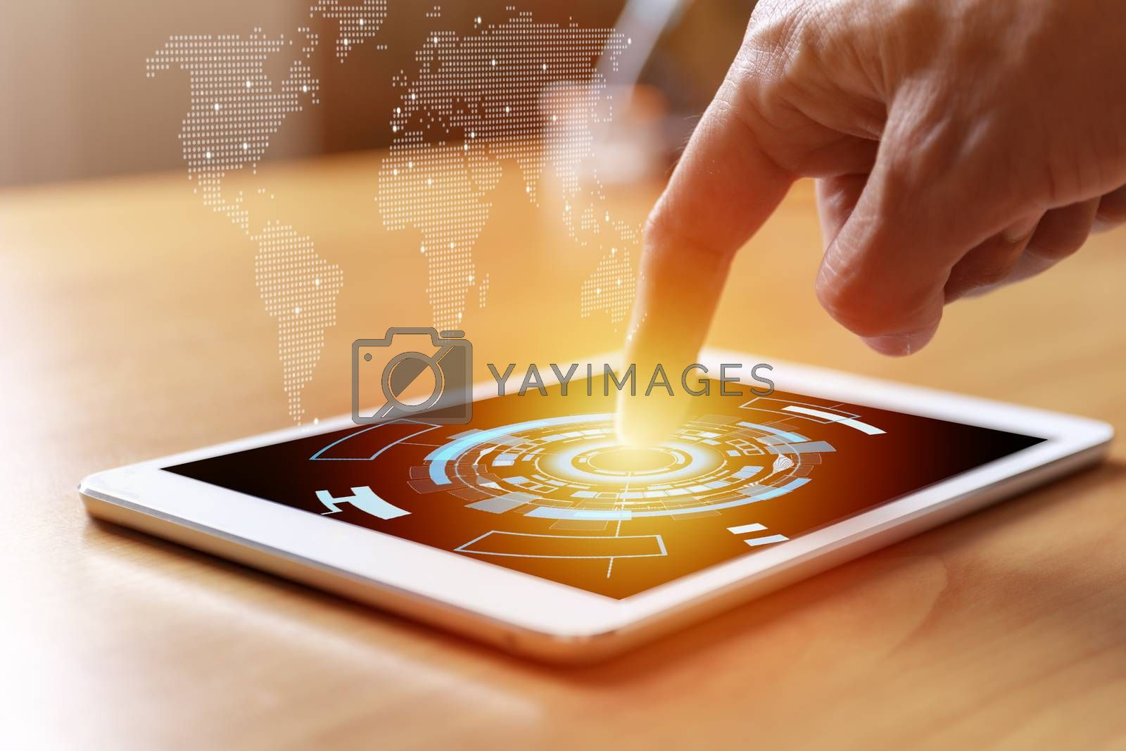 Business and social network concept. Businessman hands with tablet and world map tree graph background. Businessman hands use tablet network contact with customer and partners all the word.