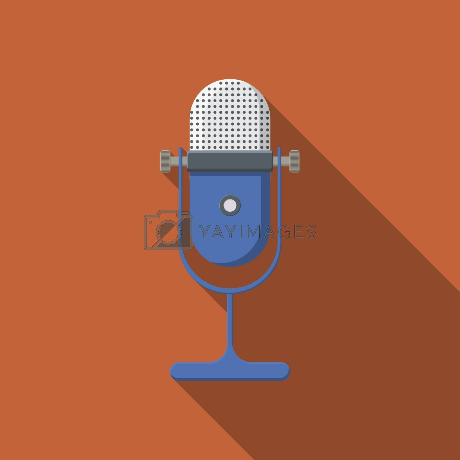 Flat design vector microphone icon with long shadow.