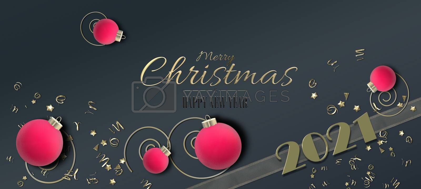 Christmas Holiday 2021 background. Xmas pink red realistic balls baubles, golden confetti, gold digit 2021, text Merry Christmas Happy New Year on black background. 3D illustration. Flat lay 3D design