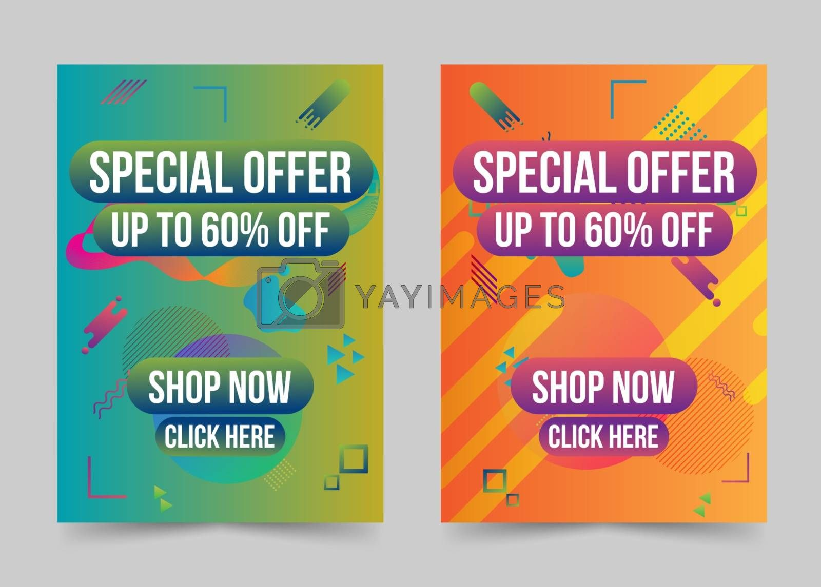 Special offer banner set modern geometric shapes abstract design by Zeedoherty