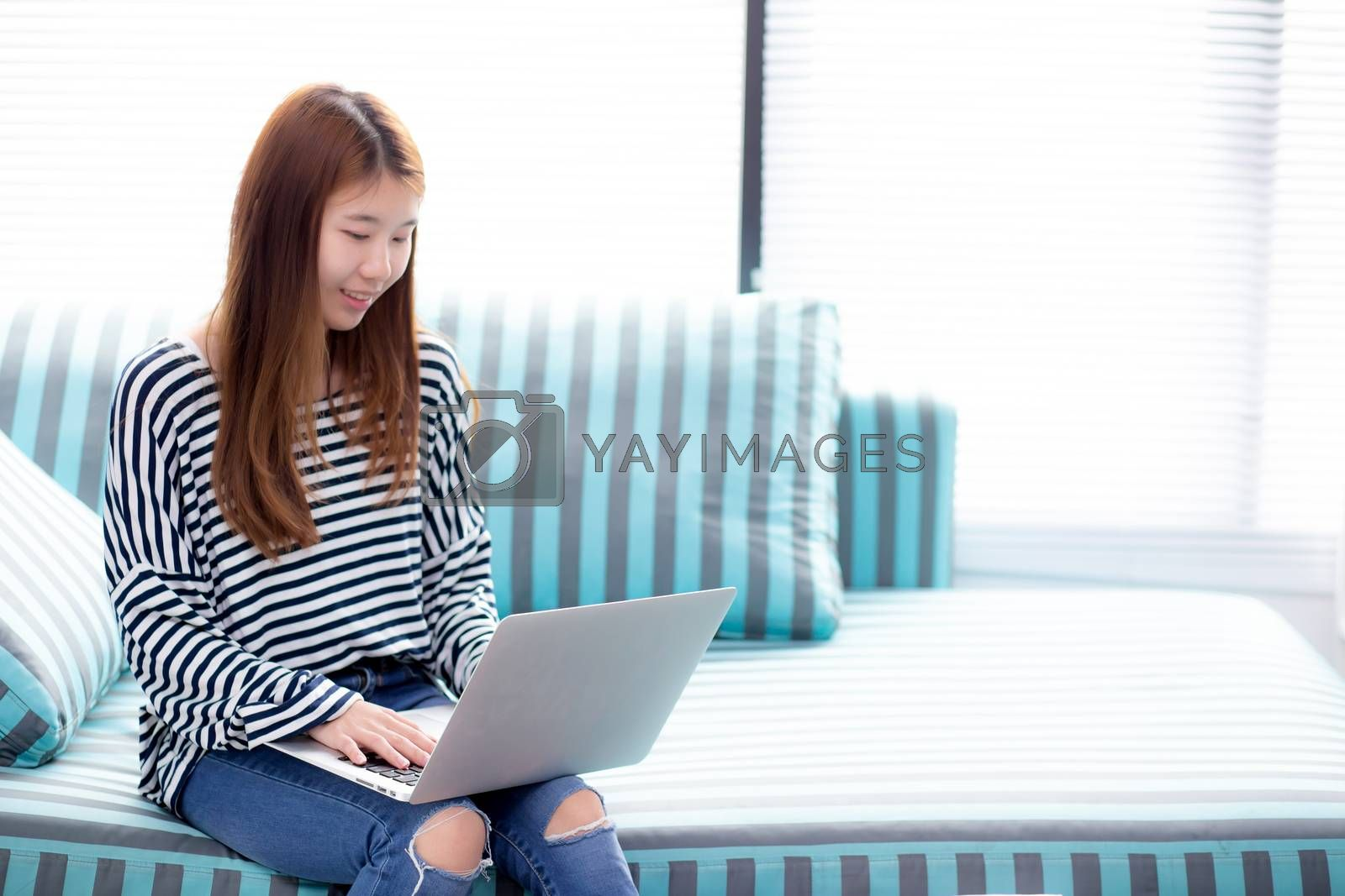 Beautiful of portrait young asian woman using laptop for leisure on sofa in living room, girl working online with notebook freelance with a happy, communication business concept.
