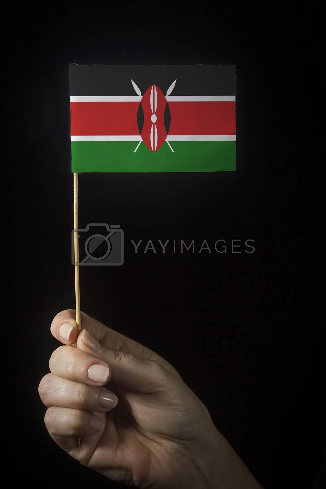 Hand with small flag of state of Kenya