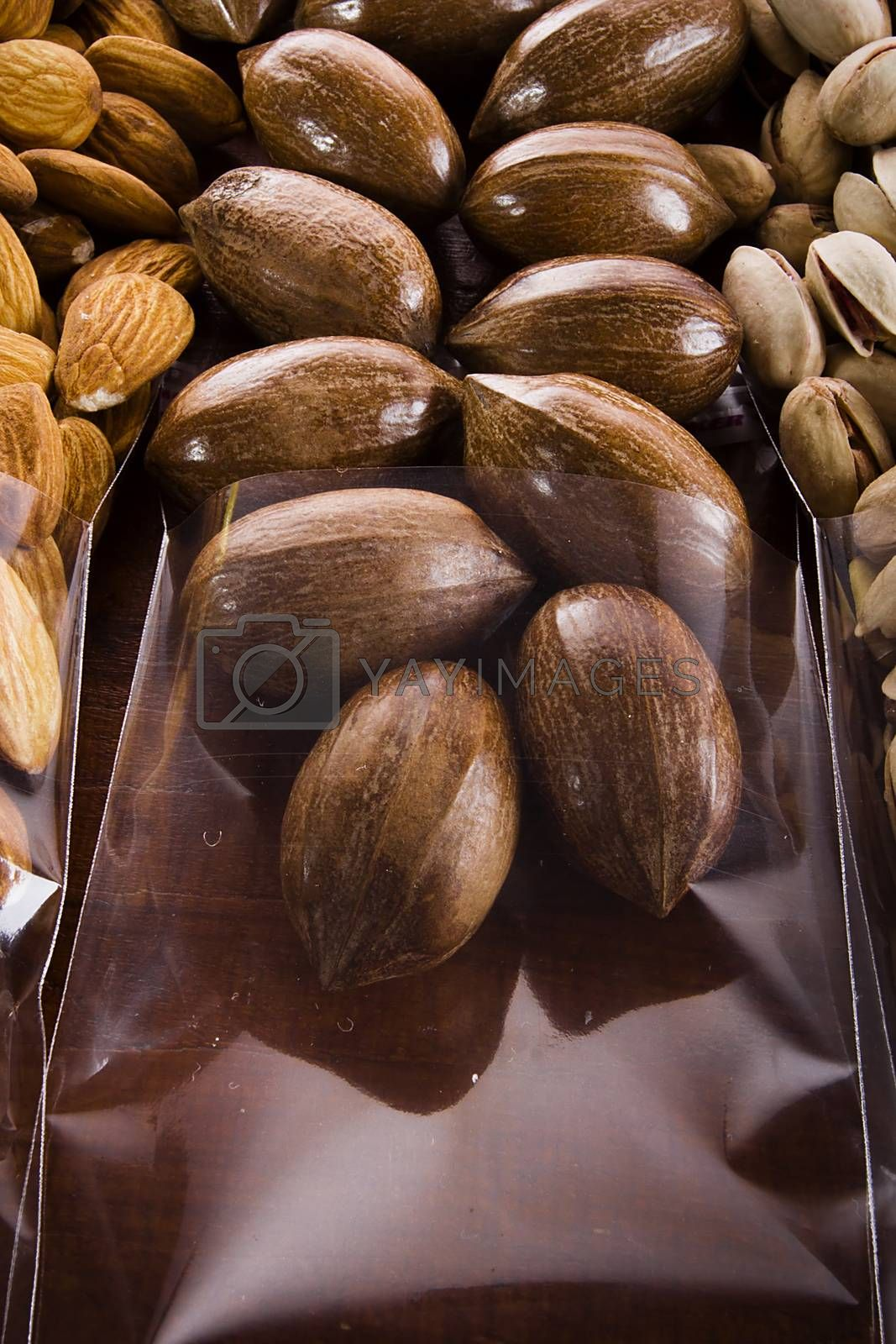 Pecan nuts in shell in transparent packaging