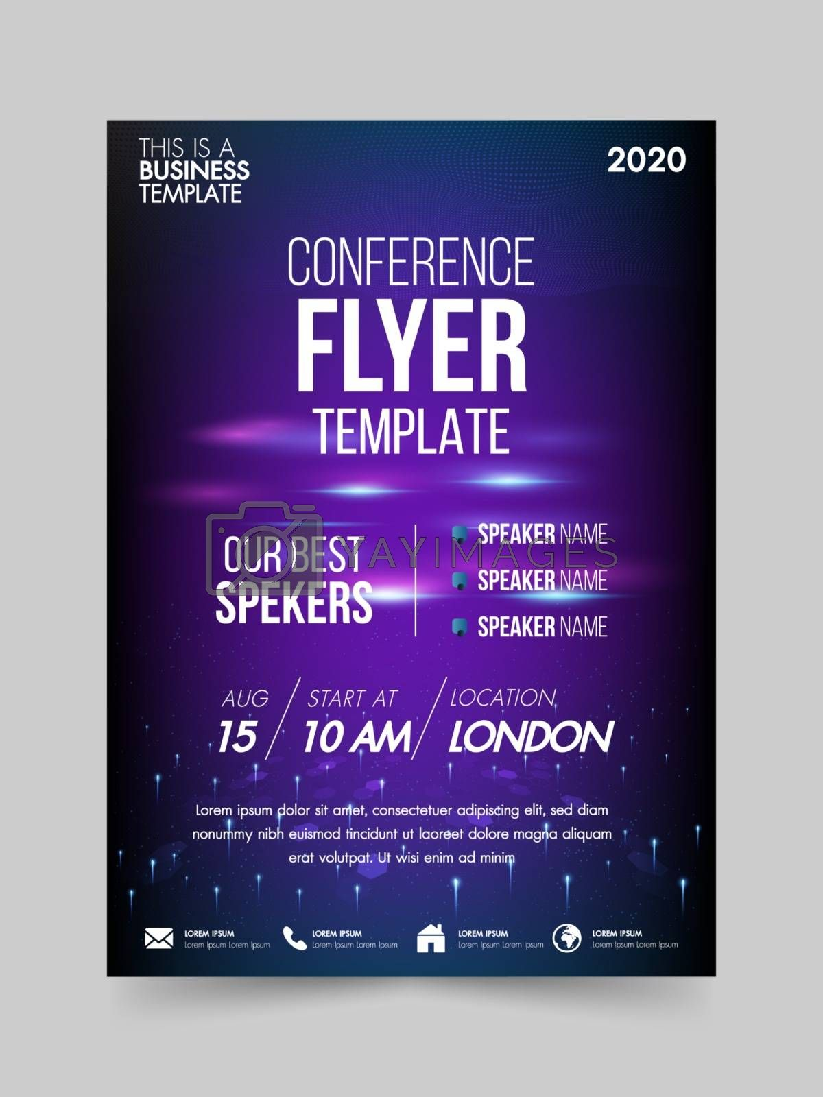 Brochure design flyer template technology conference geometric by Zeedoherty