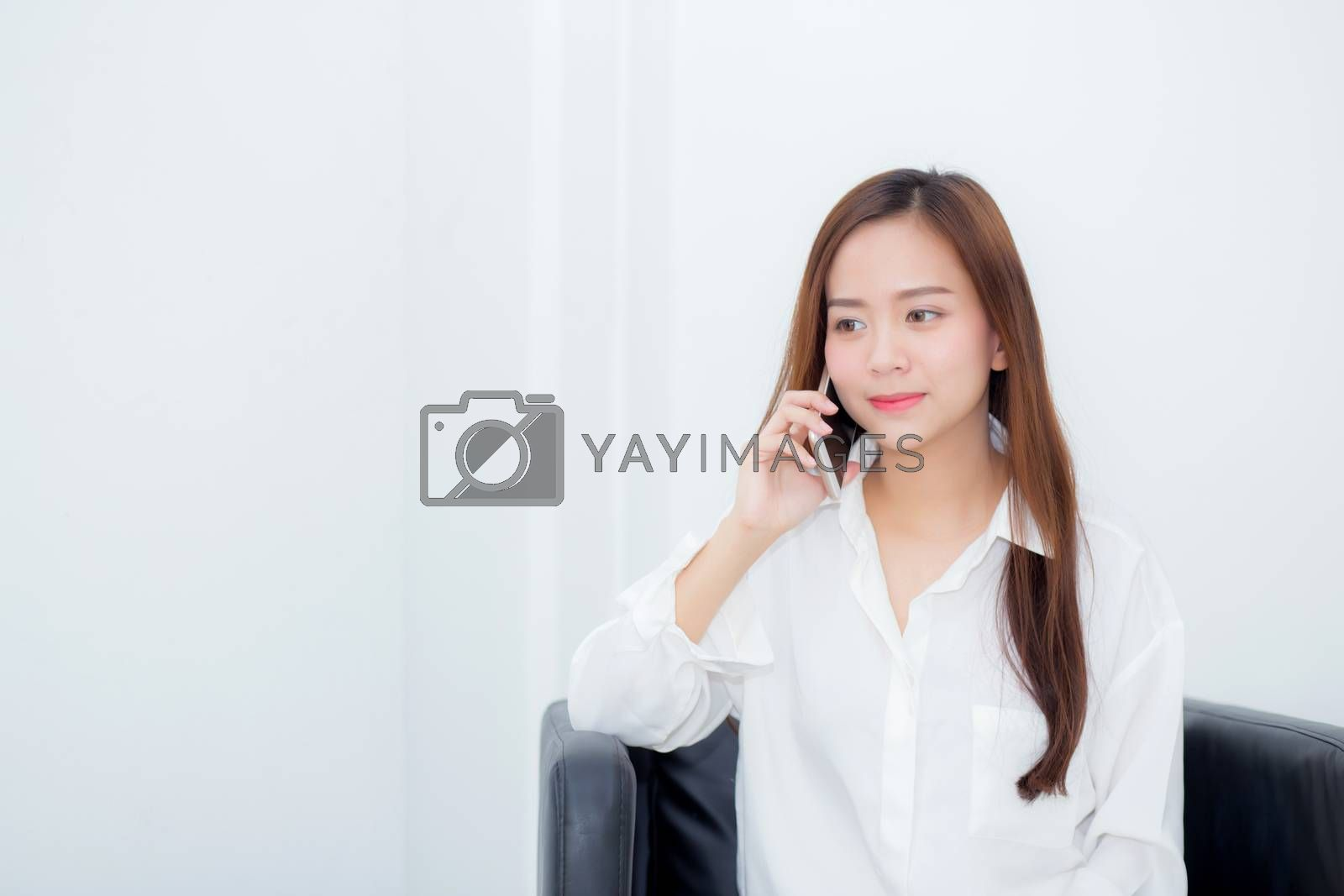 Beautiful of portrait young asian woman smiling sitting relax on by nnudoo