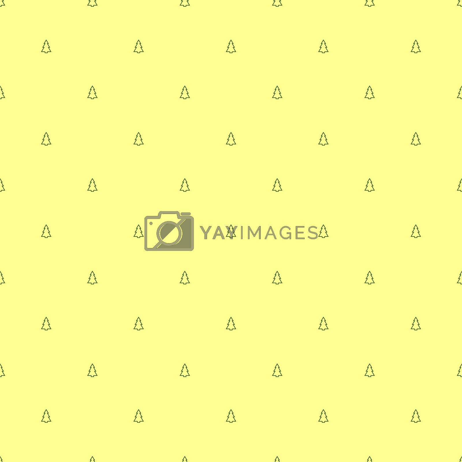 Small green outline Christmas trees on a pastel yellow background. minimalistic, geometric, symmetrical seamless pattern. Vector for Christmas wallpapers, gift boxes, holiday ribbons, cards.