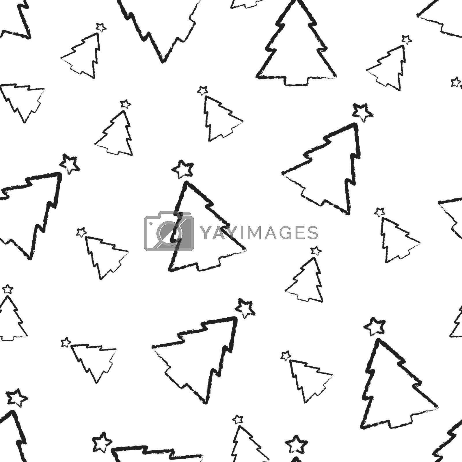 Christmas seamless pattern. hand-drawn charcoal black outline christmas trees isolated on white. stock vector illustration for wrapping, packaging, banner, card, textile. minimal scandinavian style