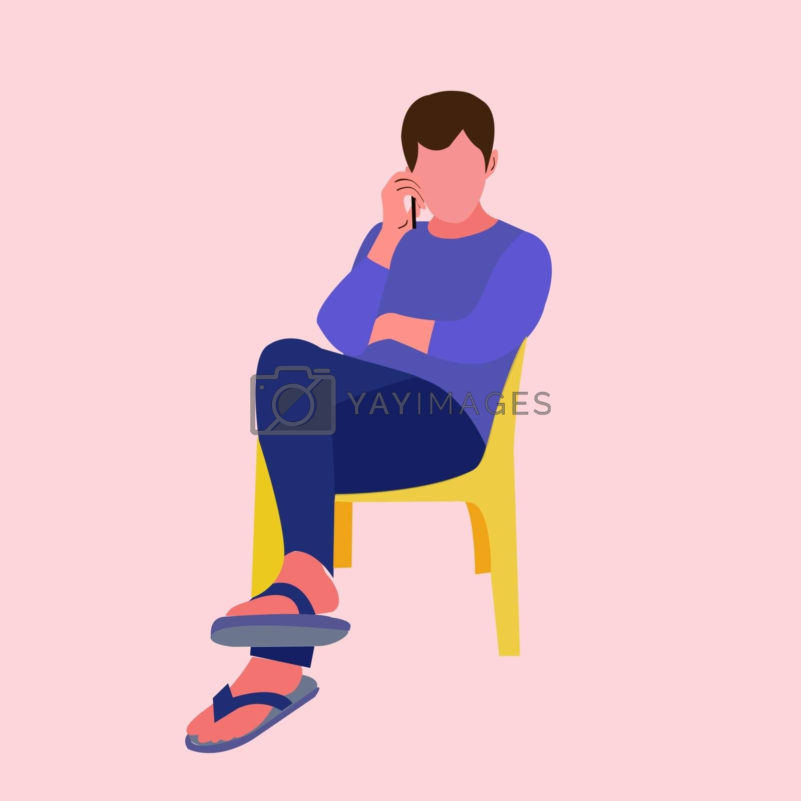 Young man sitting on the chair and talking on the cell phone. Flat design, vector illustration.