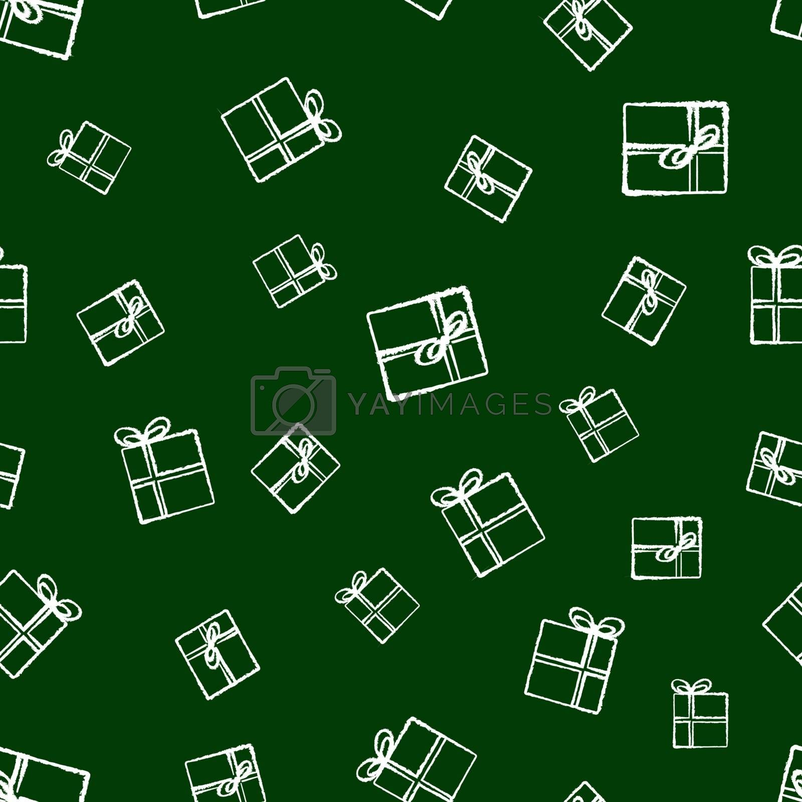 christmas gifts vector seamless pattern. hand-drawn in chalk gift boxes on a dark green background. festive design of wrapping, textile, cards, decor, minimal scandinavian style