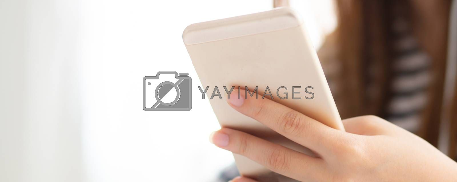 Banner website beautiful asian woman talking on smart mobile phone with happy and success on bedroom - communication business concept.