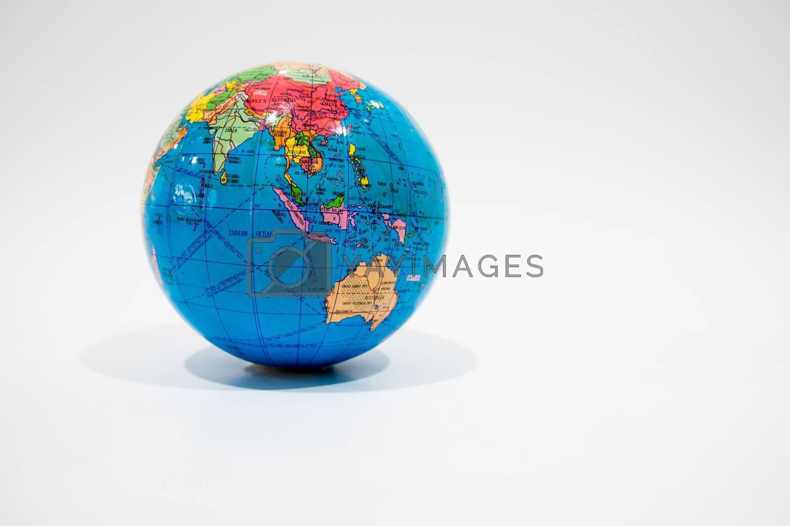 Beautiful globu model isolated on white background.