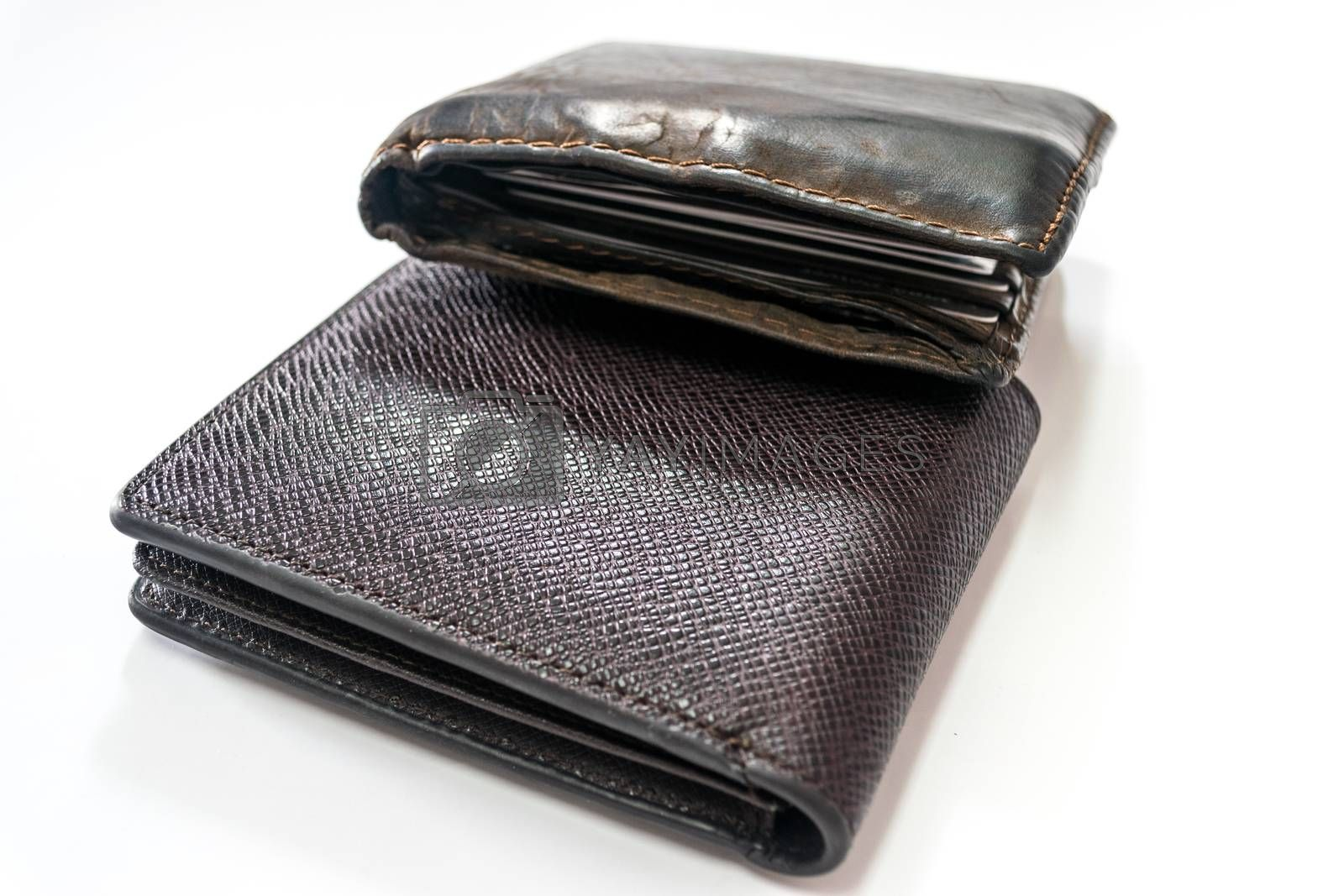 Black and brown leather Wallet by wattanaphob