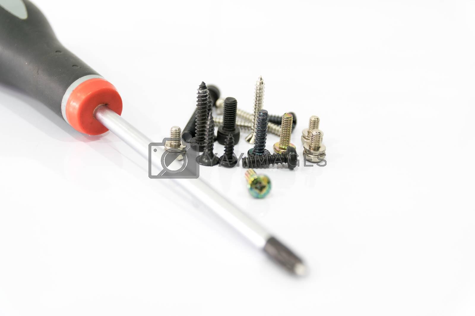 Machine screws and screws driver. by wattanaphob