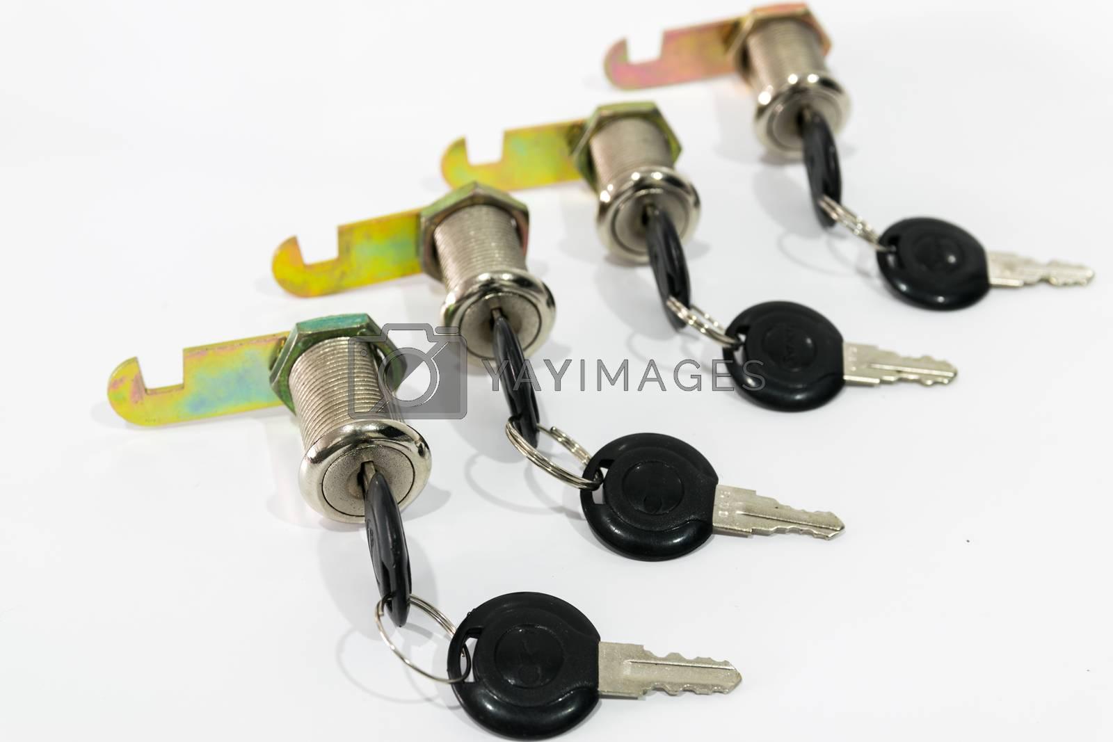 Locker keys isolated on white back ground.