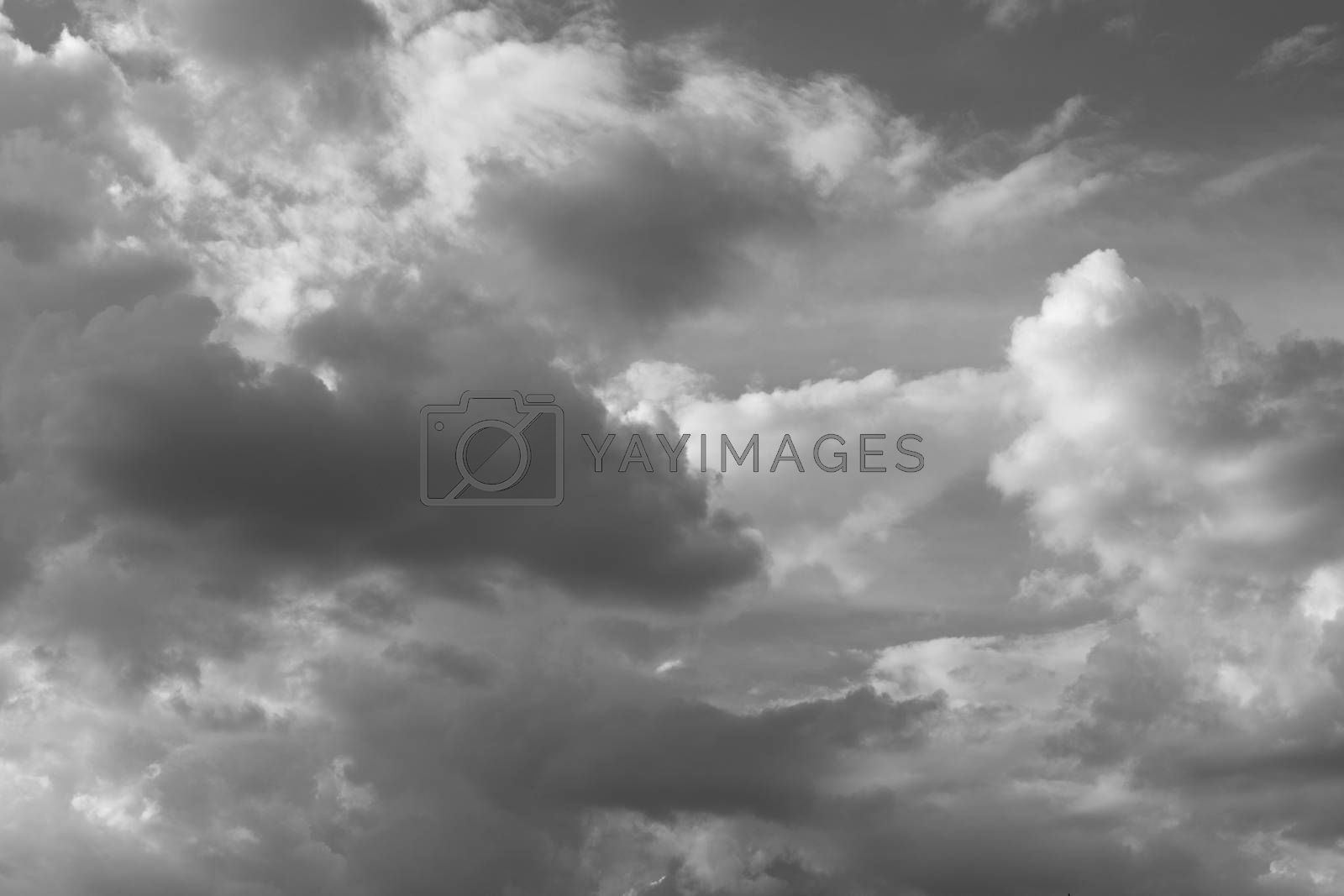 Beautiful black and white sky with clouds in the claer day.