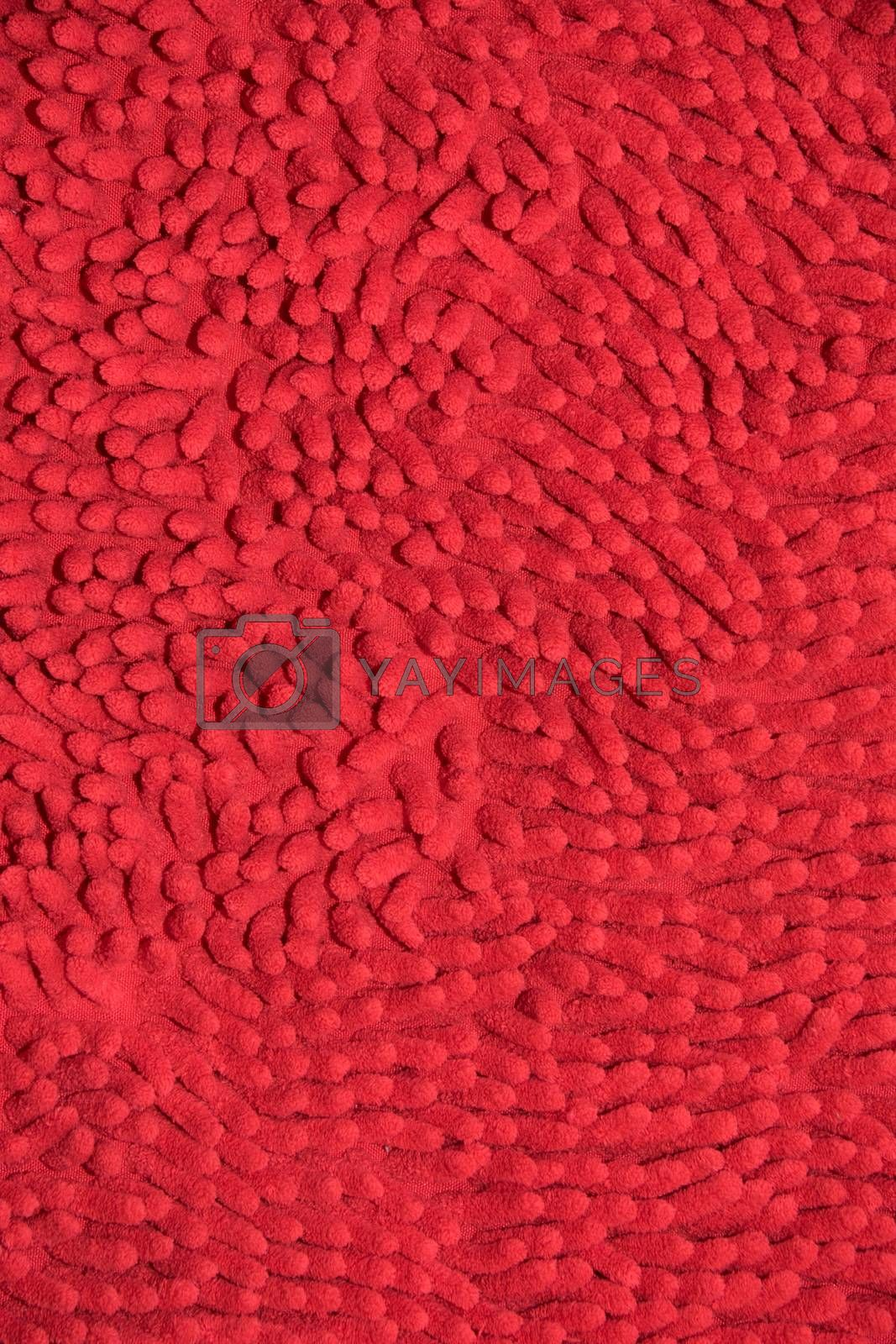 Red cloth mat in the room and office.