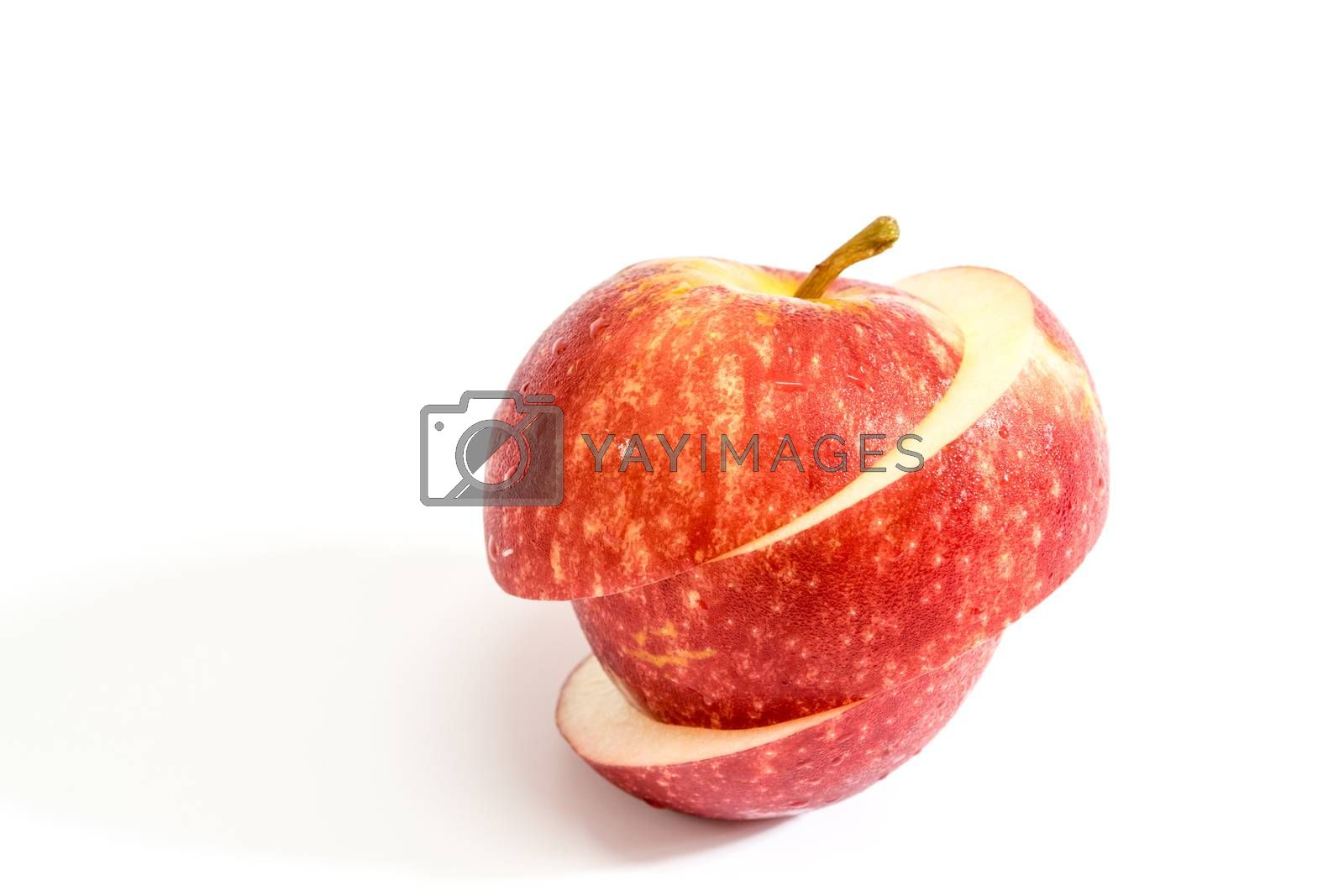 Red apple on white background.