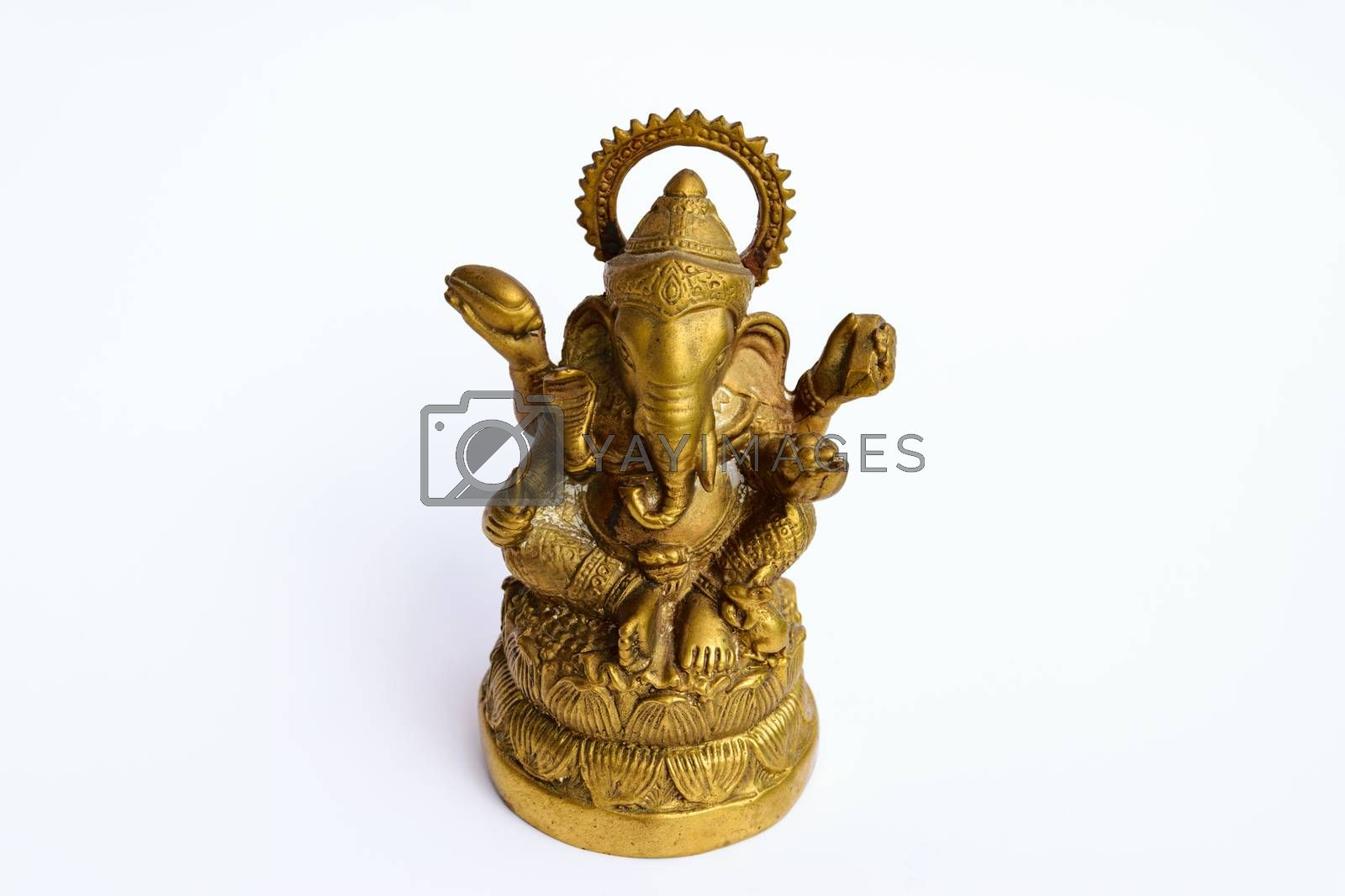 an elephant-headed deity, son of Shiva and Parvati. Worshiped as the remover of obstacles and patron of learning, he is usually depicted colored red, with a potbelly and one broken tusk, riding a rat.