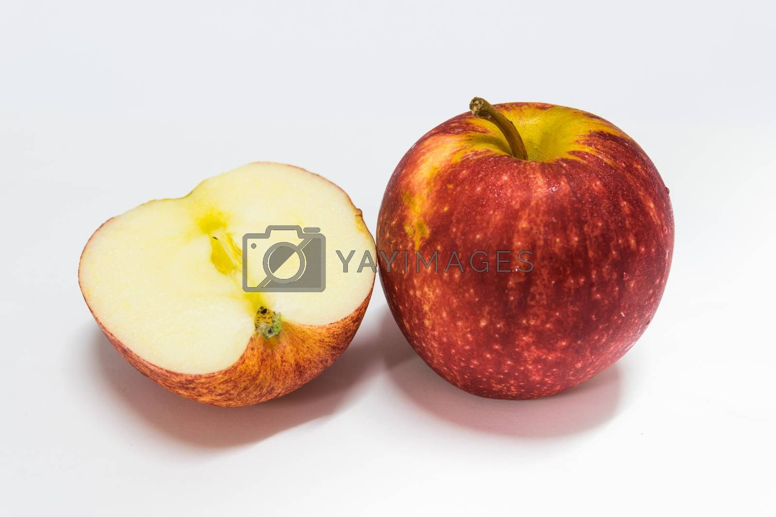Red apple with white background.
