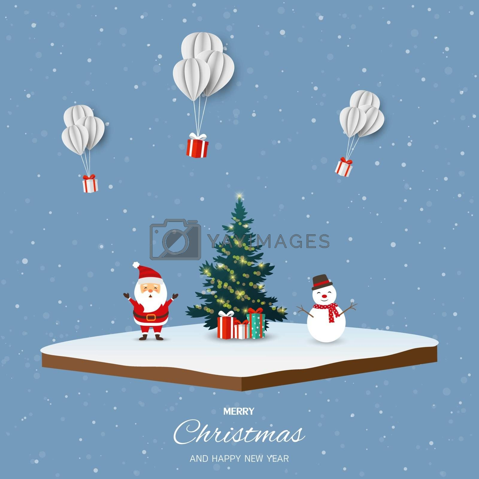 Merry Christmas and happy new year with Santa Claus,snowman and gift boxes on isometric landscape background by PIMPAKA