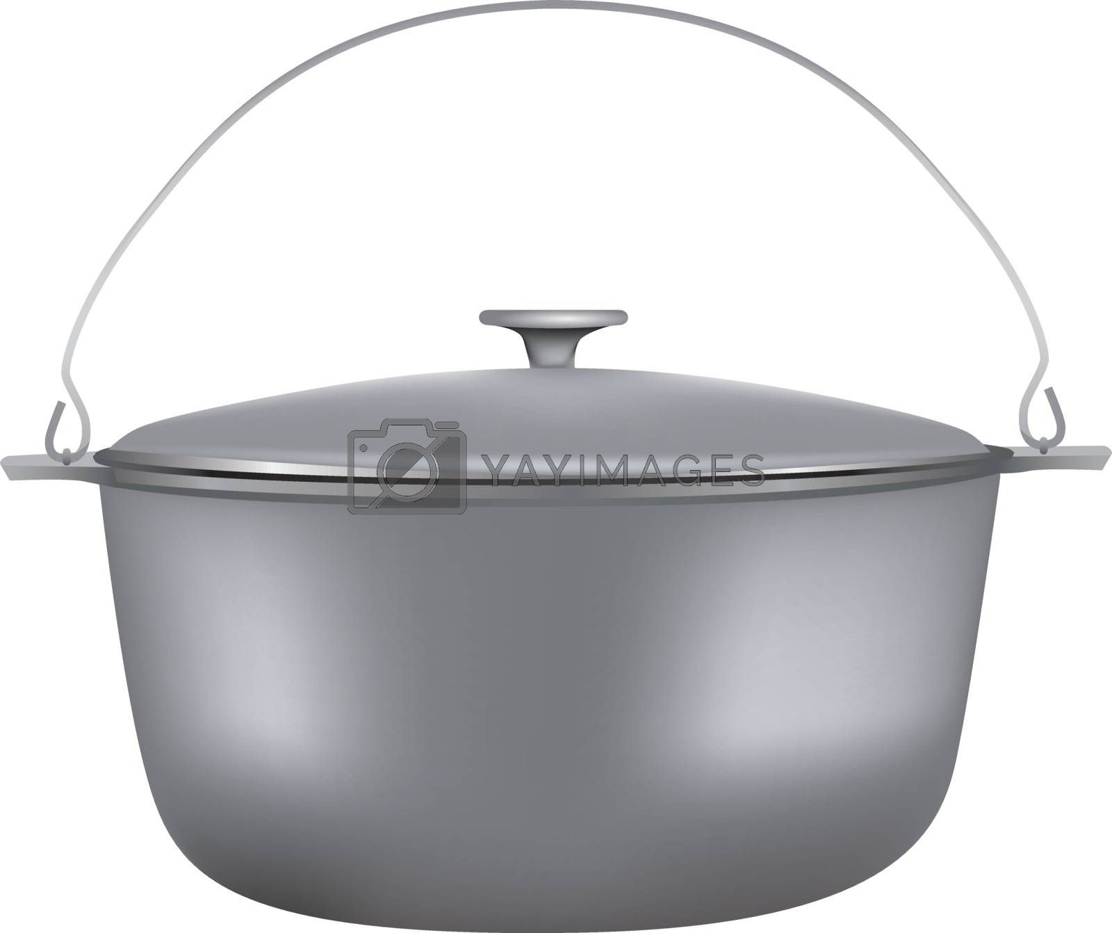 Travel cooking pot with lid and bracket.