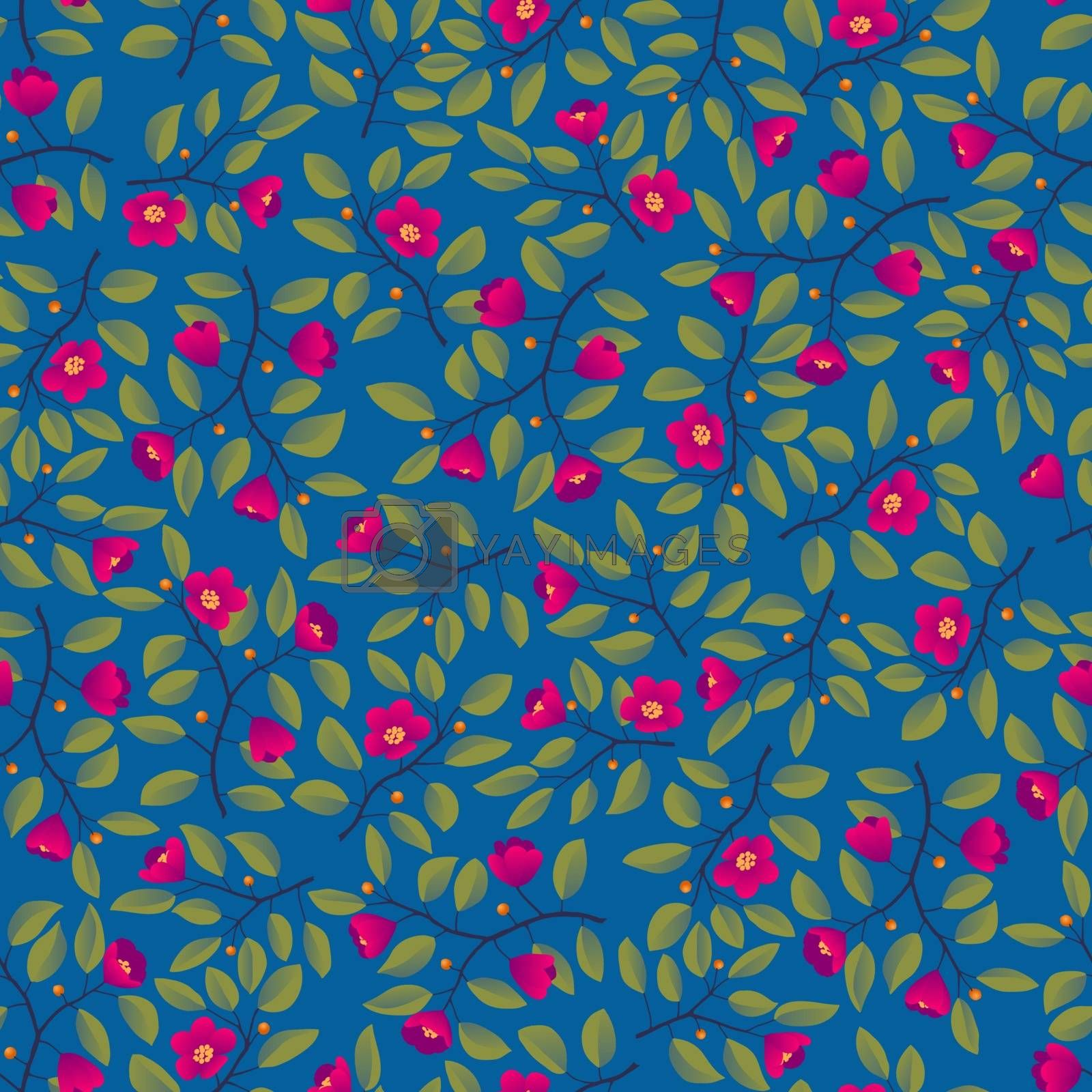 Floral background - seamless pattern, branches with leaves and bright magenta flowers on blue. Vector illustration, design for wallpaper, textile, fabric, wrapping.