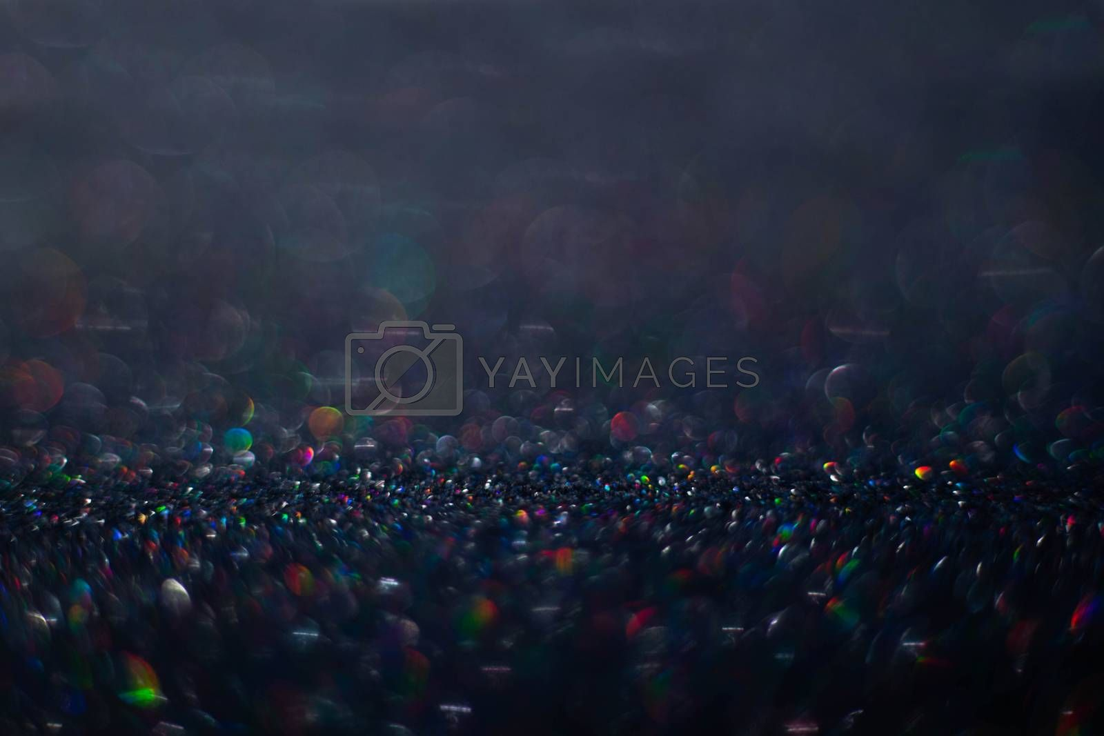 Black friday sale luxury background of glitters with copy space for text content, holiday backgrounds with color bokeh defocused lights