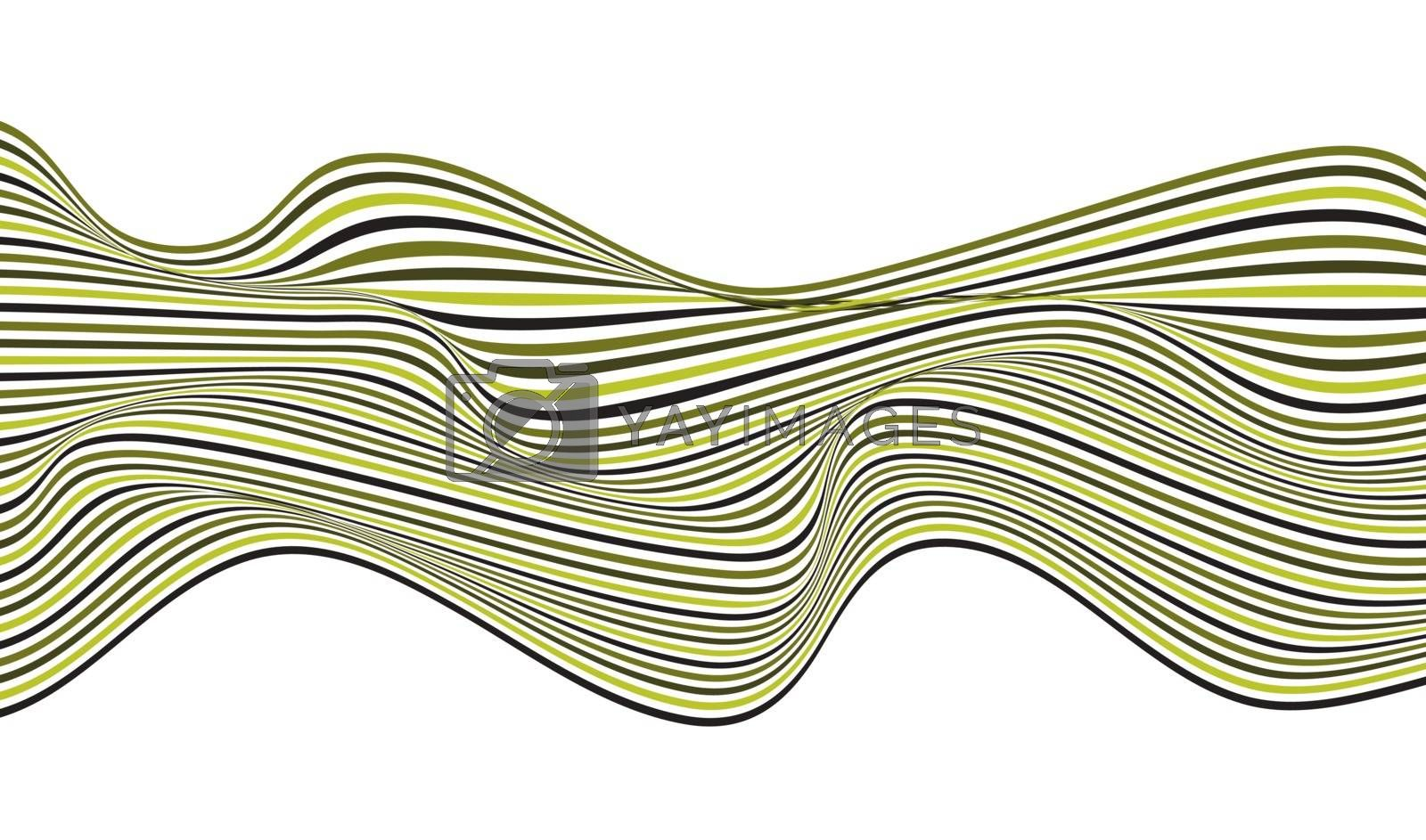 Abstract green wave lines pattern optical art design isolated on white background. Wavy line stripes texture. Vector illustration