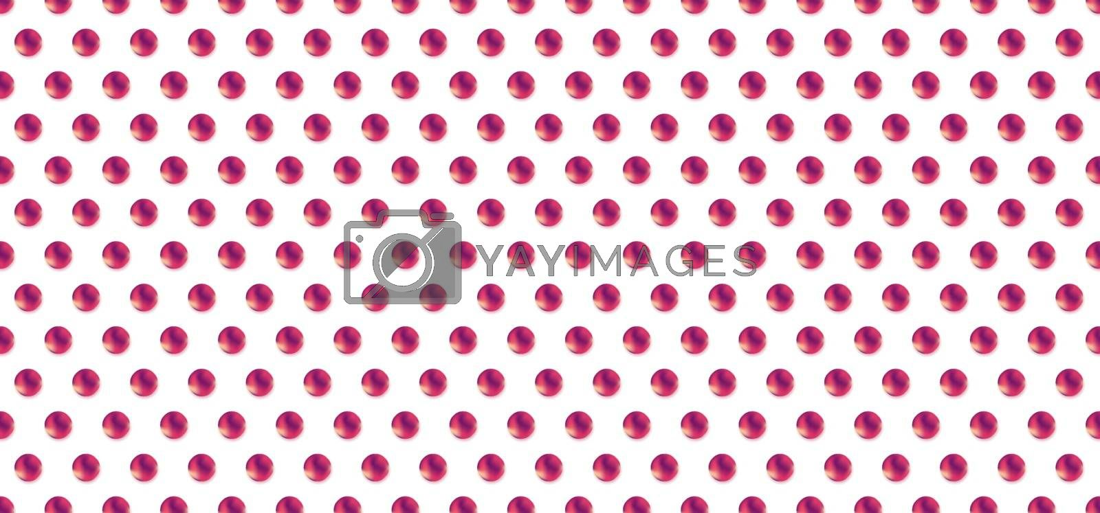 Circles pink and purple gradient shape pattern on white background. 3D circle repeating seamless. Vector illustration