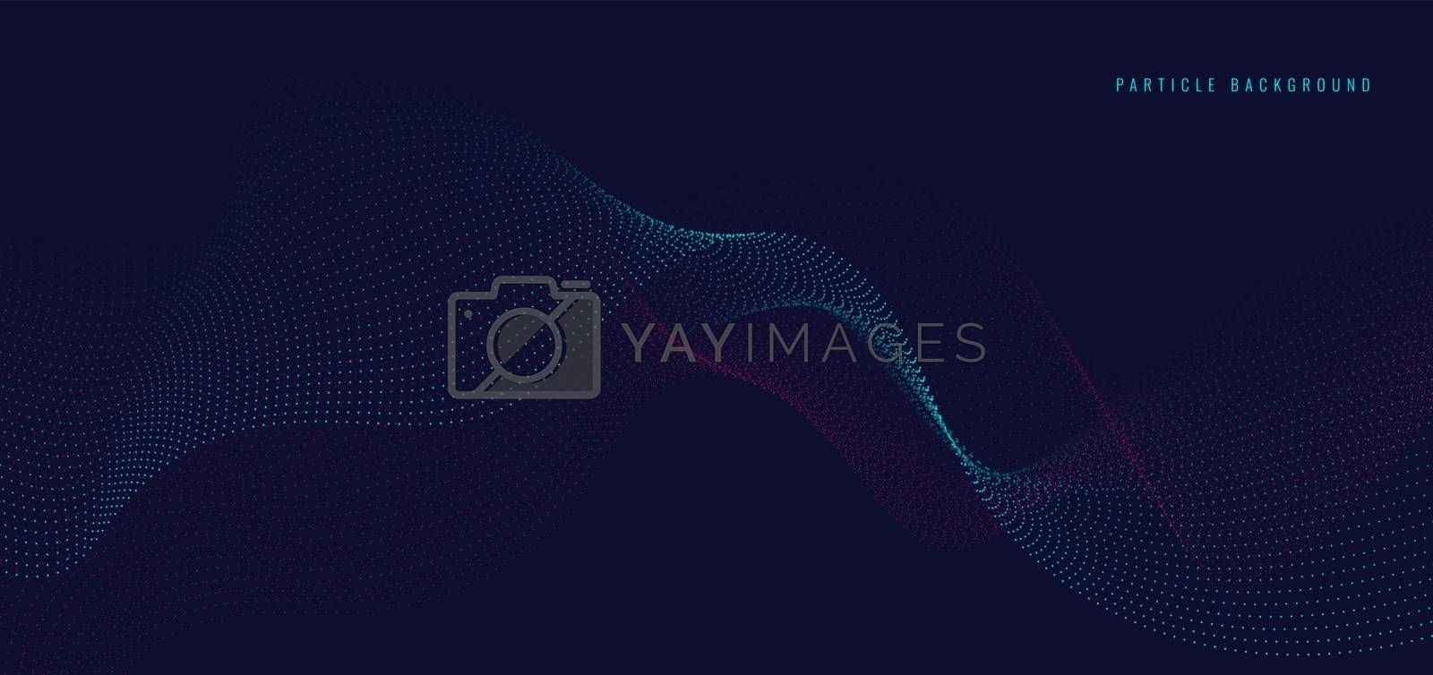 Abstract blue and pink particles dots wave line on dark background. Vector illustration