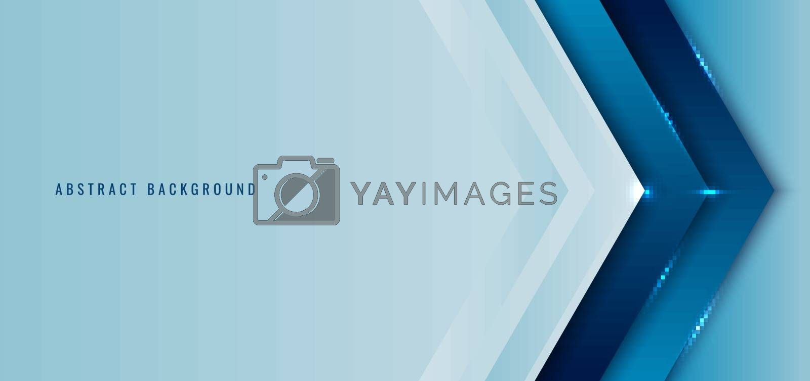 Banner web template blue angle arrow overlapping layer with lighting background space for your text. Vector illustration