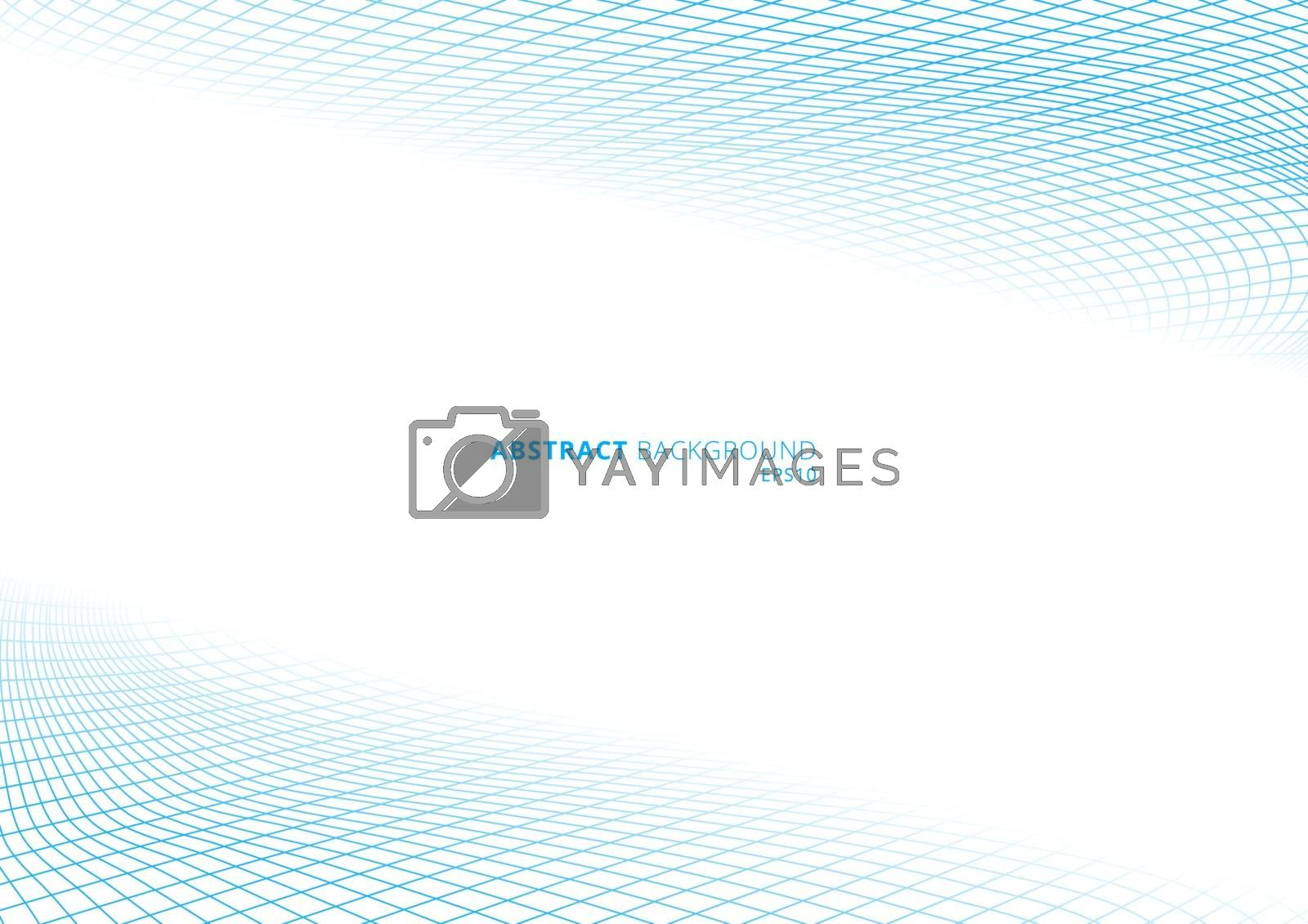 Blue grid lines curve perspective on white background with space for your text. Vector illustration