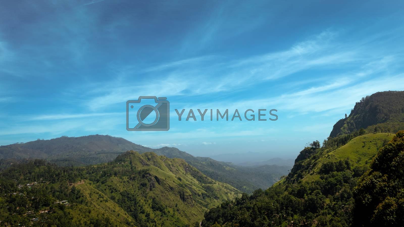 beautiful mountains blue sky view landscape in Sri Lanka