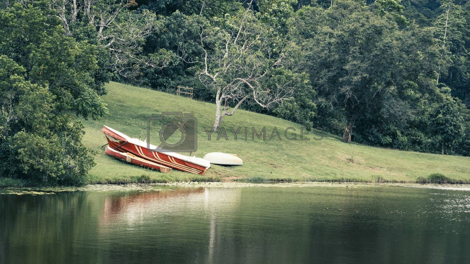 Beautiful landscape of Hiyare Reservoir boat on the ground reflection