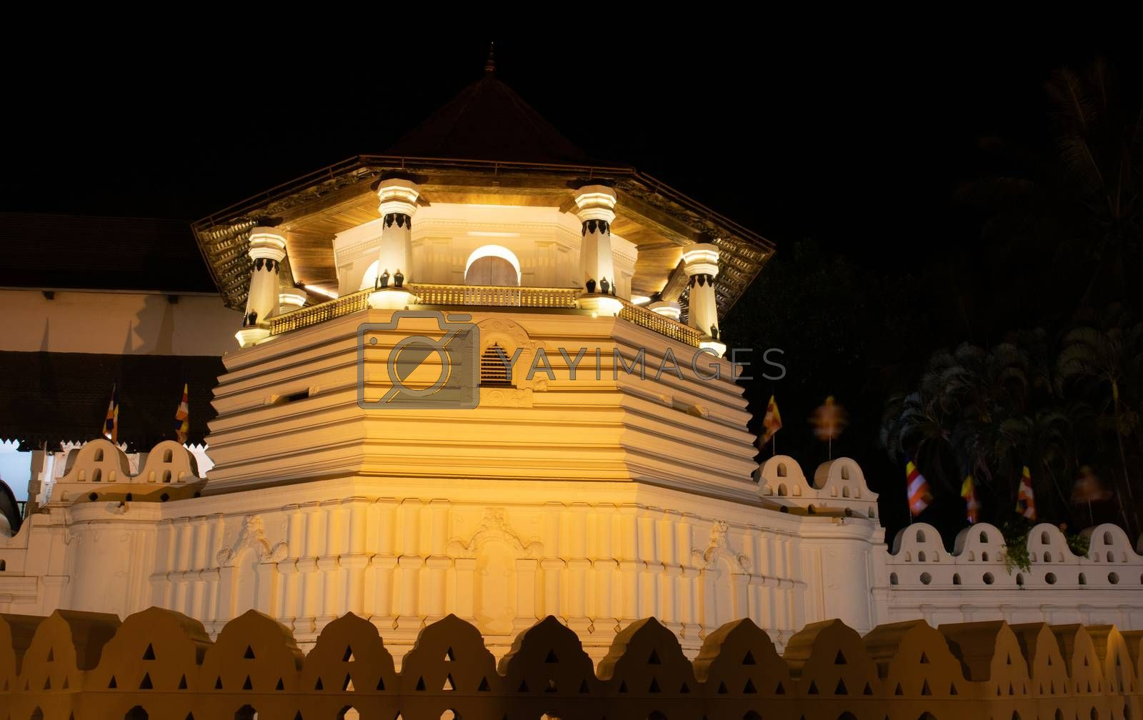 Sri Dalada Maligawa or the Temple of the Sacred Tooth Relic is a Buddhist temple in the city of Kandy, Sri Lanka. It is located in the royal palace complex of the former Kingdom of Kandy, which houses the relic of the tooth of the Buddha.