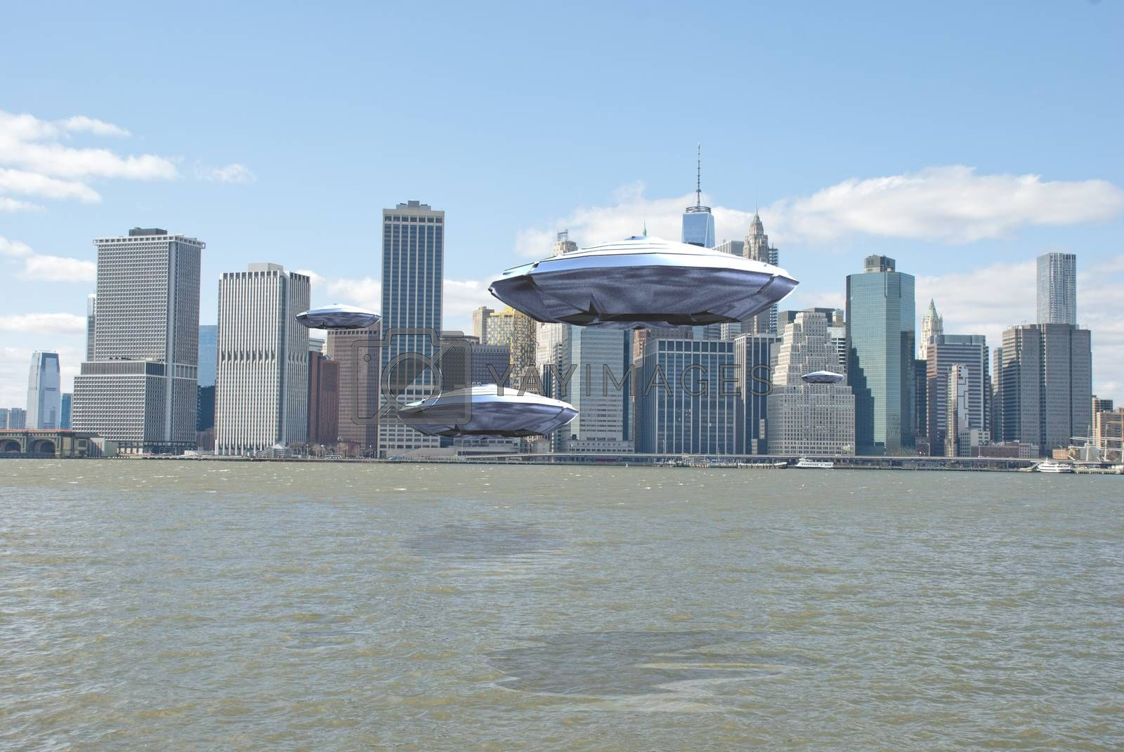 Flying saucers over New York harbour. 3D rendering