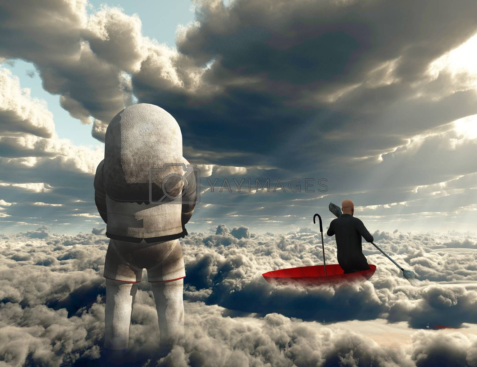Surreal painting. Man floats in red umbrella. Figure of astronaut. 3D rendering