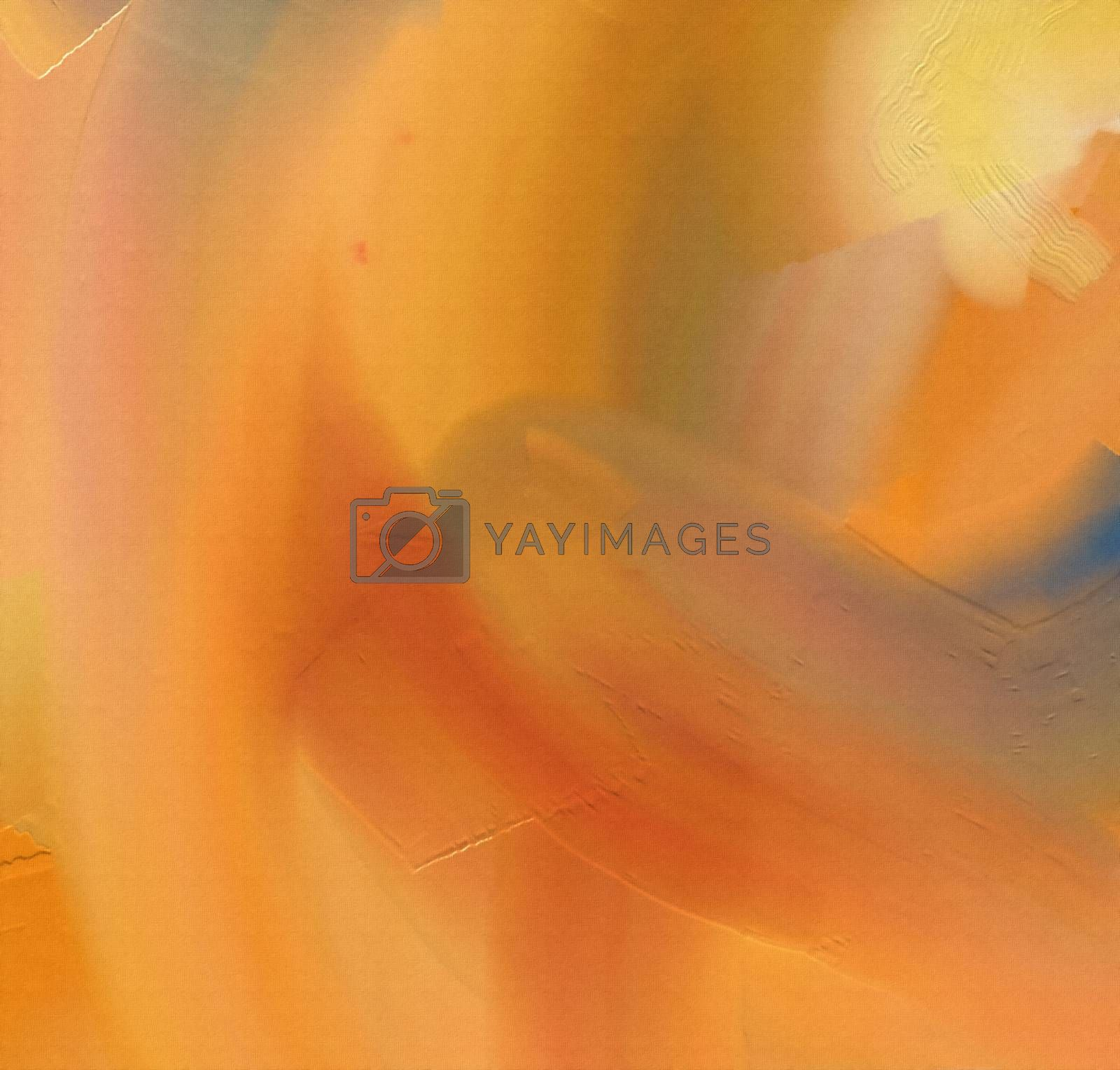 Abstract canvas with wide brush strokes in orange colors. 3D rendering