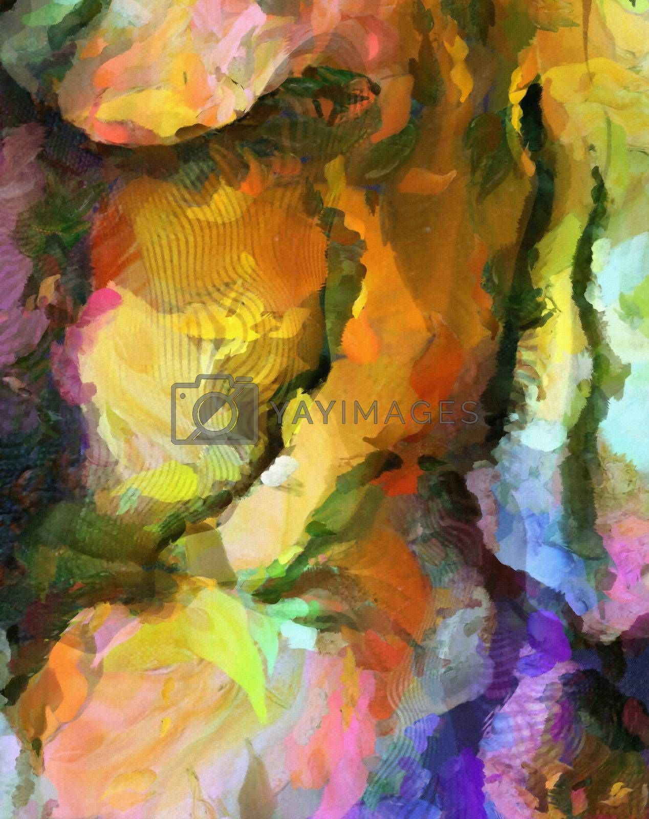 Colorful abstract painting. Vivid colors. 3D rendering