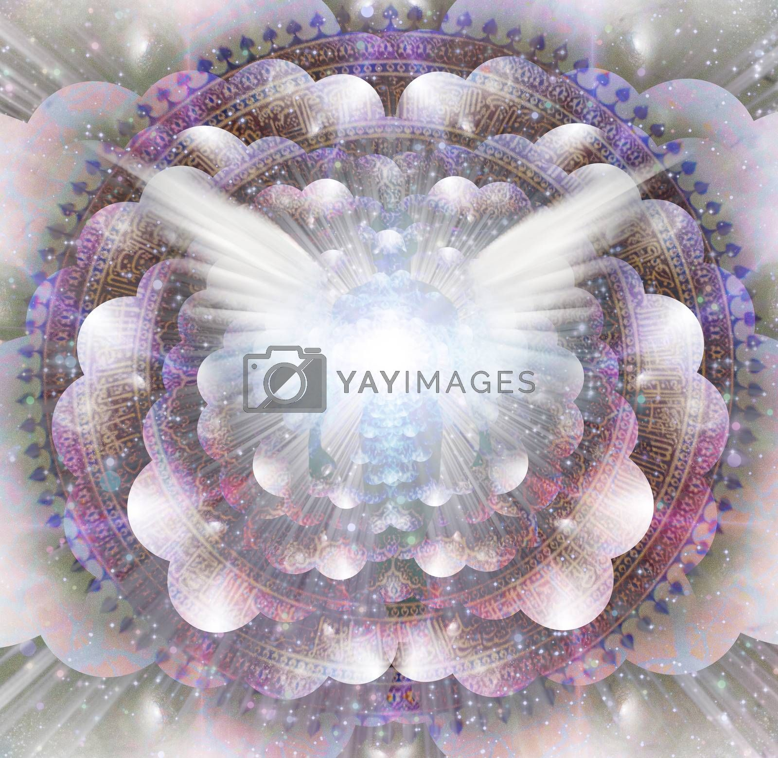 Shining wings and mans aura in a center of Indian mandala. Multi-layered spaces representing endless dimensions. 3D rendering
