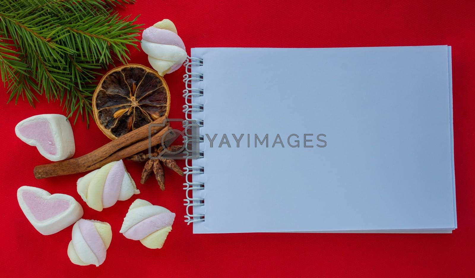 Hearts-marshmallow candies and green spruce branches with a Notepad, isolated on a red background. Space for your text.