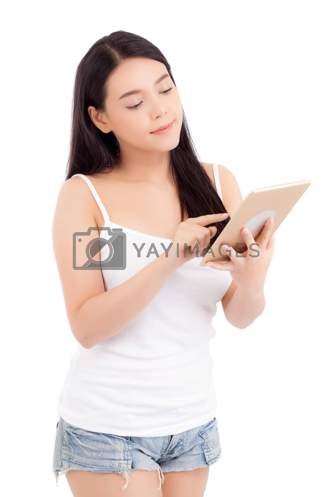 Portrait of asian young woman standing touch blank screen tablet isolated on white background, girl showing technology, business and communication concept.