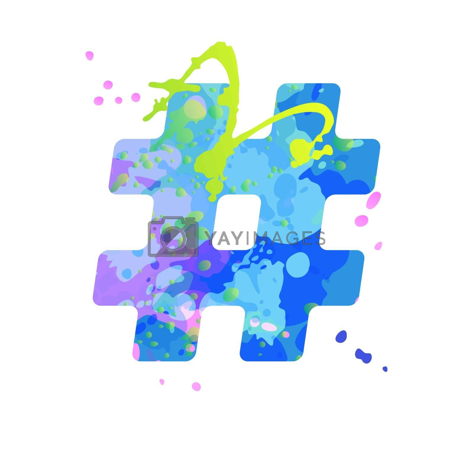 Special symbol hashtag sign with effect of liquid spots of paint in blue, green, pink colors, isolated on white background. Decoration element for design of a flyer, poster, calendar, cover, title.