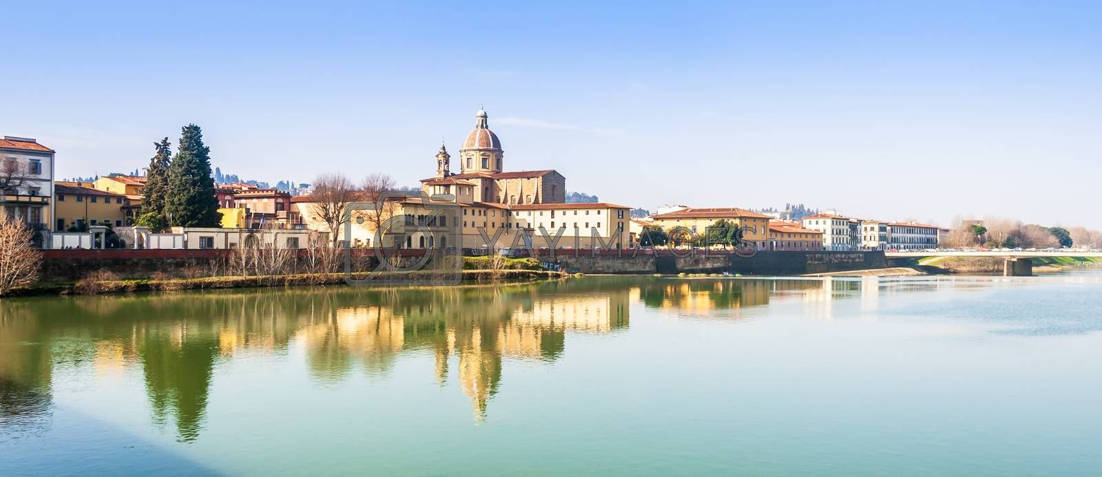 Refurbishment of the shores of Florence, Along the Arno river in Tuscany, Italy