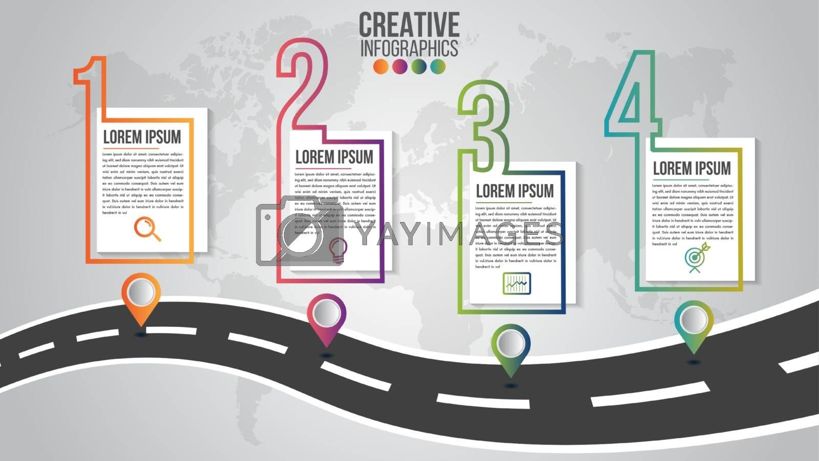Infographic modern timeline design vector template for business  by Zeedoherty